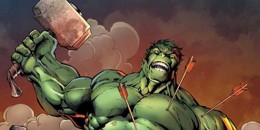 Hulk raises Thor's hammer