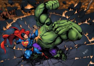 superman fights hulk both have arms upraised