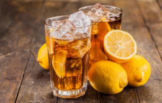 lemon ice tea wooden table
